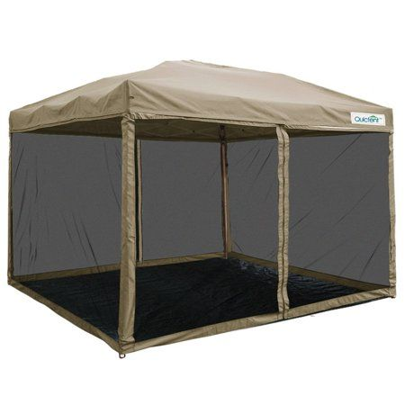 Quictent 8x8 Ez Pop Up Canopy With Netting Screen House Room Tent Mesh Sides Walls With Roller Carry Bag Tan Walmart Com In 2020 Screen Tent Screen House Canopy Tent