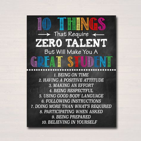 Classroom Decor - 10 Things Zero Talent - Classroom Management Printable