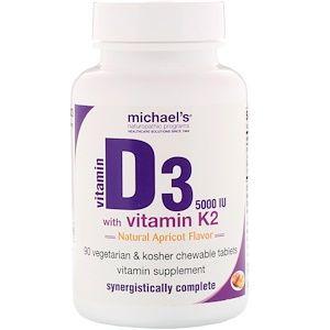 Michael S Naturopathic فيتامين د3 مع فيتامين ك2 نكهة المشمش الطبيعي 125 مكجم 5 000 وحدة دولية 90 قرص نباتي قابل للمضغ Vitamin K2 Naturopath Vitamins