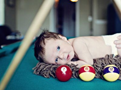 Cute! Baby boy billiard (pool) themed newborn photo shoot props ideas