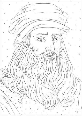 Leonardo Da Vinci Coloring Page Leonardo Da Vinci Homeschool Art History Line Art Drawings