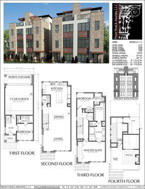 3 1/2 Story Duplex Townhouse Plan E2028 A1.1   Condo floor plans ...