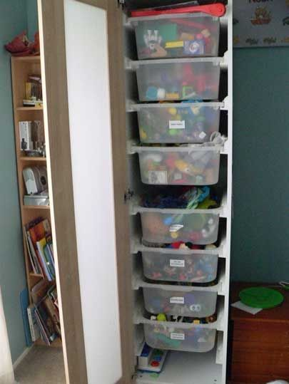 Ikea Hack Pax Is Compatible With Trofast Bins For Toy Storage Behind Closed Doo In 2020 Ikea Toy Storage Ikea Storage Cabinets Toy Storage