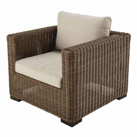 Fidji Wicker And Sand Fabric Garden Armchair Armchair Outdoor