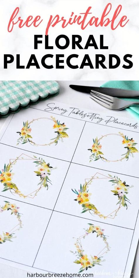 Want to set a pretty table for a Spring occasion like Easter or Mother's Day? These beautiful free watercolor floral place cards would be a perfect finishing touch to a simple Spring placesetting. #printables #floral  #Springprintables