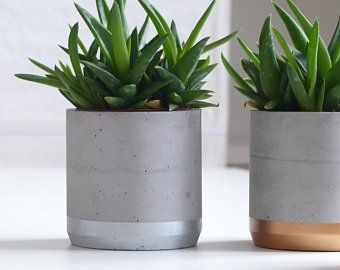 Modern Gray And Copper Cube Concrete Planter Pot With Square Saucer And Copper Painted Vertical Strip Cement Flower Pots Concrete Planters Flower Pots