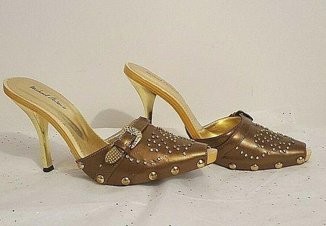 Michael Antonio Cooper Rhinestone Stiletto - Slides - Buckle Accent - Size 6.5 #MichaelAntonio #Mule