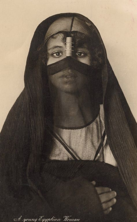A Young Egyptian Woman by Lehnert & Landrock…Enigmatic Ethnic Tribal Mysterious Veiled Beauty Original RARE 1929 Vintage Real Photo Postcard