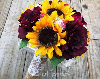 Burgundy Sunflower Bouquet Bride Bouquet Sunflower Bouquet Etsy Sunflower Wedding Sunflower Bridesmaid Bouquet Sunflower Bouquets