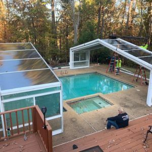 Georgia Pool Enclosure Manufactured By Roll A Cover Pool Enclosures Pools Backyard Inground Residential Pool