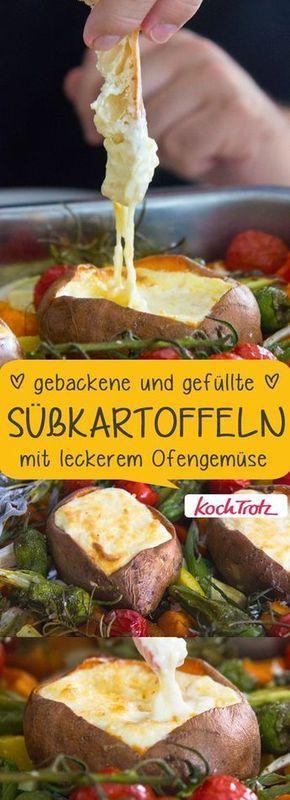 Leckeres, gesundes Soulfood | gebackene und gefüllte Süsskartoffeln mit Ofengemüse #süsskartoffel