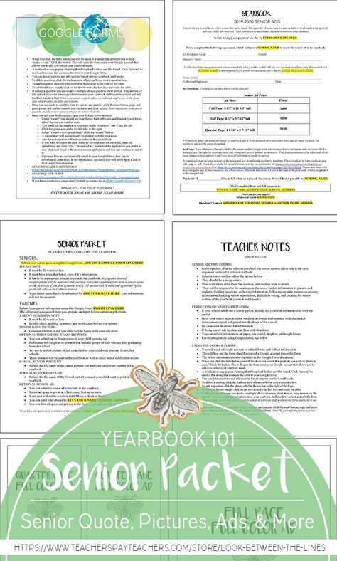 Yearbook Senior Section Collection Pack: Editable Google