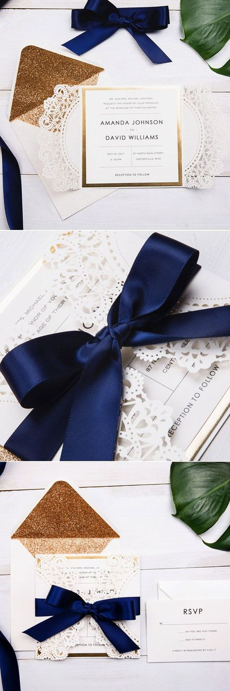 tie ribbon wedding invitation%0A elegant rose gold and navy blue glitter wedding invitations with gold  glittery mirror paper bottom EWWS      Glitter wedding invitations  Navy  ribbon and