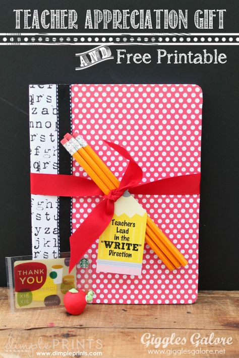 Teachers Lead in the Write Direction -- Teacher Appreciation Gift Idea and Free Printable