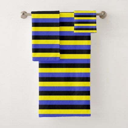 Yellow Blue And Black Stripes Bath Towel Set Zazzle Com