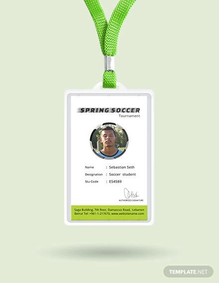 Free Soccer Identity Card Template Word Doc Psd Apple Mac Pages Illustrator Publisher