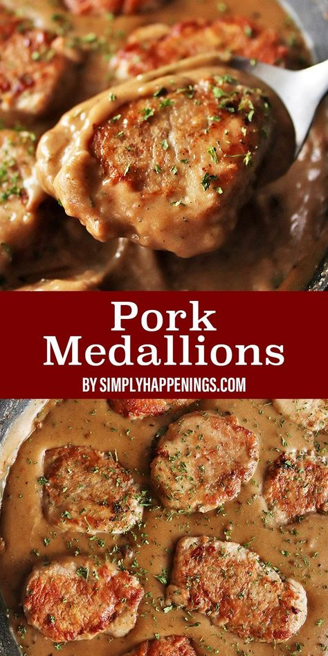 How to make pork medallions! They are tender pan-fried slices of pork tenderloin with sautéed onion and garlic in a rich and creamy brown gravy. Paired deliciously with potatoes, roasted vegetables, noodles, or seasoned rice. Makes servings. Pork Tenderloin Recipes, Pork Recipes, Cooking Recipes, Fried Pork Tenderloin, Pork Chops, Pork Tenerloin, Pork Cutlet Recipes, Recipies, Easy Pork Chop Recipes