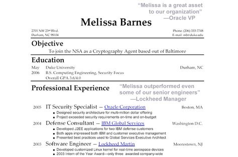 Business Student Resume Example Student resume and Resume examples - it security resume