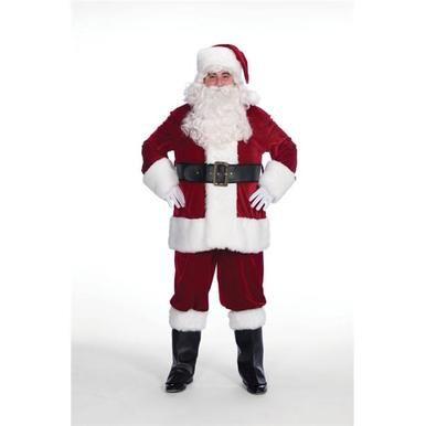 DELUXE 10 PIECE SANTA CLAUS SUIT PLUSH FATHER CHRISTMAS COSTUME XMAS FANCY DRESS