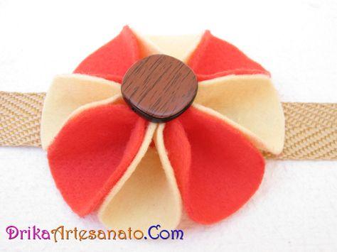 artesanato passo a passo: flor de feltro