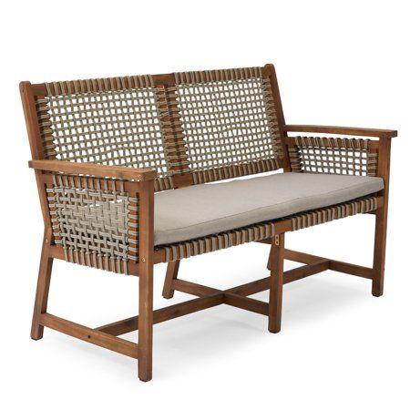 Belham Living Raeburn Wood And Rope Outdoor Bench Walmart Com Used Outdoor Furniture Rustic Outdoor Furniture Outdoor Furniture Cushions