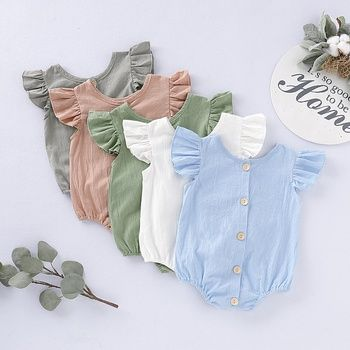 Daily Deals For Moms Patpat Baby Ruffle Romper Linen Summer Outfits Baby Girl Clothes