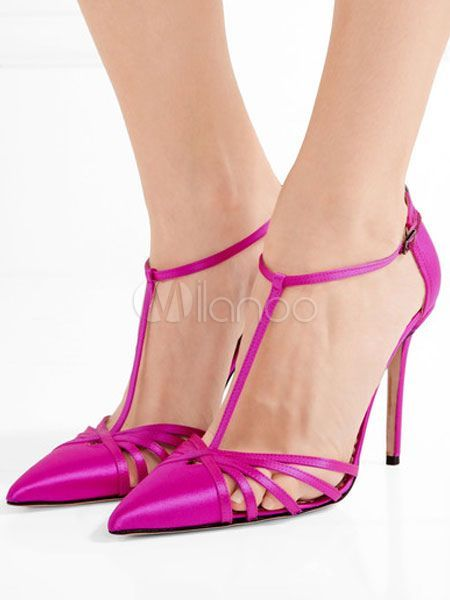 028cdd23fc79f Fuchsia High Heels Satin Pointed Toe T-Type Bandage Cut Out Buckled  Stiletto Heel Shoes $49.99