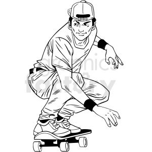 Black And White Guy Skateboarding Vector Illustration Skateboarder Drawing Art Reference Photos Sketch Poses
