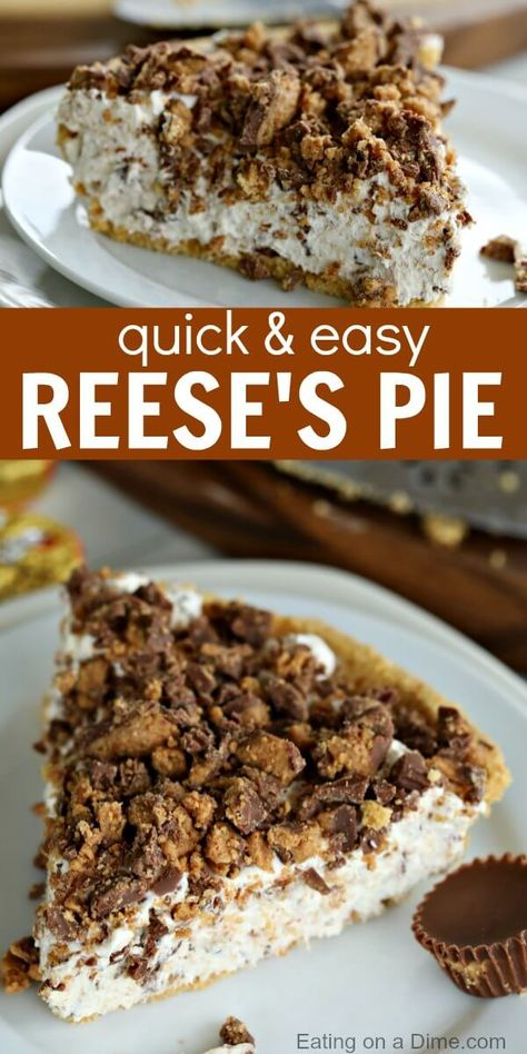 This Reeses Pie Recipe is the perfect no bake dessert. Reese's peanut butter pie recipe is delicious. Try Reese's peanut butter cup pie for an easy dessert. # no bake Desserts Reeses Pie Recipe - Easy Reese's Peanut Butter Pie Recipe Reeses Peanut Butter Pie Recipe, Reeses Pie, Peanut Butter Cups, Butterfinger Pie, Snickers Pie, Reeses Candy Recipe, Peanutbutter Pie No Bake, Pb Pie Recipe, Easy Peanut Butter Recipes