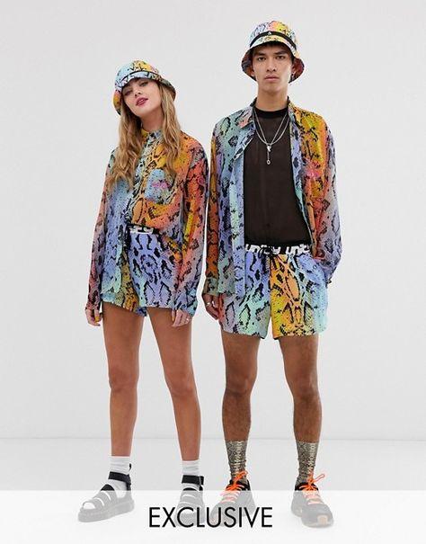 ASOS DESIGN x glaad& unisex oversize sheer shirt and runner short in snake print   ASOS