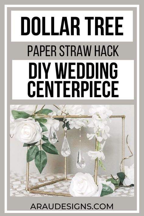 $1 PAPER STRAW HACK: DIY Square Wedding Centerpiece by AraUDesigns DIY for Wedding, Baby & Home Decor. Learn to make this easy, simple and cheap wedding centerpiece on a budget using Dollar Tree Items. Whether your marriage is in the fall, summer, winter or spring; this centerpiece adds an elegant and romantic touch to your wedding reception. Visit araudesigns.com for this tutorial and more DIY Wedding ideas! #araudesigns #DIY #wedding #DIYWedding #dollartree #tutoritals #howtomake #centerpiece
