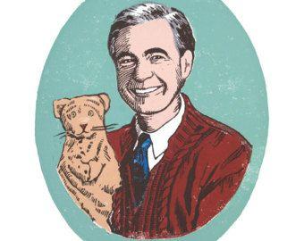 Mister Rogers Linocut Digital Print Children S Art Mr Rogers Fred Rogers Mr Rogers Quote
