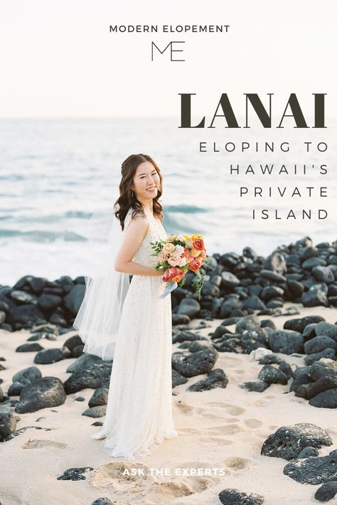 Have you ever wanted to run away to a private island? This couple did just that! Lanai is often thought of as the private island of Hawaii. After eloping, the couple treated their intimate group of guests to dinner by the water of the gorgeous coy ponds before heading off to take sunset photos in the sand. By Modern Elopement
