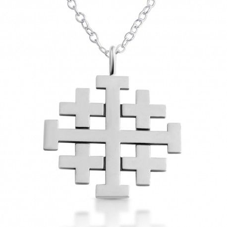 Rich in symbolism, history and meaning, the Jerusalem Cross goes by many varied names, including the Crusader's Cross. This Jerusalem Cross Necklace represents a mission that started in Jerusalem, which was Christ's command to spread the Gospel around the world. Beautifully rendered, this piece commands attention with all of its many polished facets. An iconic piece for any faithful collector. http://www.azaggi.com/necklaces/188-jerusalem-cross-necklace.html #silver #cross #pendant #necklace