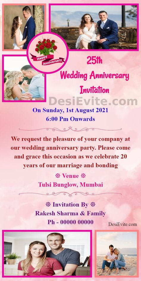Wedding Anniversary Invitation Card with 5 photo