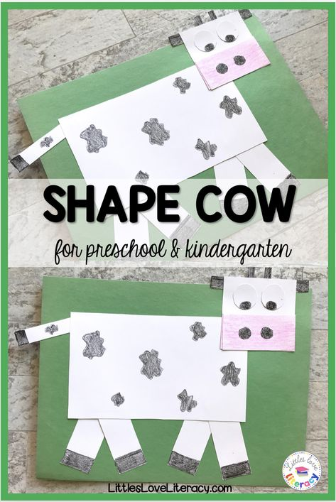 Shape Cow craft for kids. Great for preschool, pre-k, and kindergarten students. Lesson Plans For Toddlers, Kindergarten Lesson Plans, Preschool At Home, Preschool Themes, Kindergarten Activities, Preschool Farm Crafts, Pre K Lesson Plans, Preschool Learning, Farm Theme Crafts