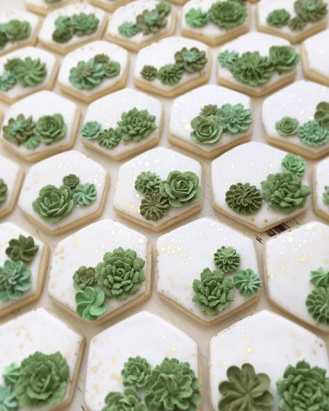 All the best succulent bridal shower ideas! Succulents are the new trend for weddings and celebrations. Find everything about succulent theme for the party Fancy Cookies, Iced Cookies, Royal Icing Cookies, Cupcake Cookies, Fondant Cookies, Cupcakes Succulents, Flower Cupcakes, Flower Cookies, Baby Shower Cookies