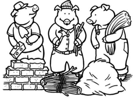 Coloring Page Base Three Little Pigs Little Pigs Coloring Pages
