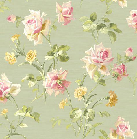 Behang uit de collectie Cameo van Wallquest. Patroon American Beauty (SA21004) met bloem in kleur groen, roze en beige.