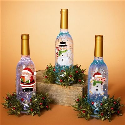 Decorative Bottles :     GERSON 11''H B/O LIGHTED ACRYLIC WINE BOTTLE W/SNOWMAN & FLORAL ACCENT (SET OF 3)    -Read More –