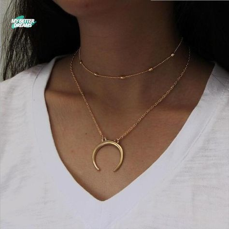 Multilayer Crescent Moon Necklace