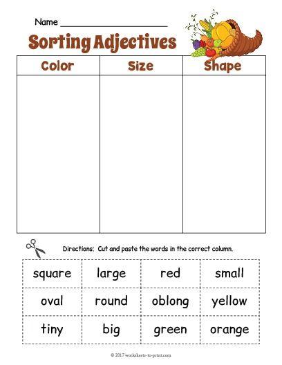 Adjective Worksheets Size Adjective Worksheet Nouns Verbs Adjectives Adjectives Verbs