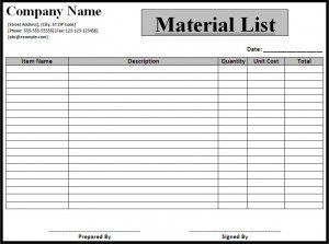 Image Result For Free Material List Template List Template Free