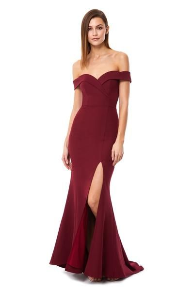Bella Bardot Maxi Dress With Thigh Split And Train Maxi Dress Dresses Burgundy Gown
