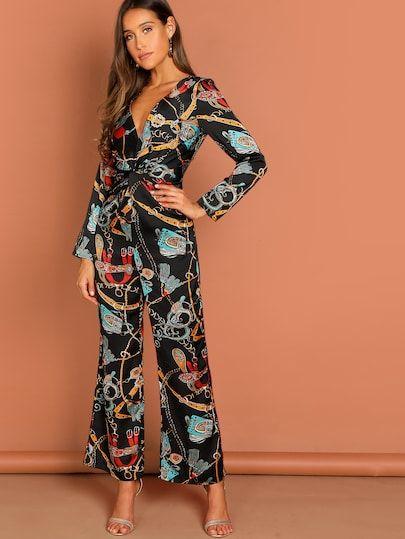Womens Long Sleeves Chain Print Zipper Club Party Casual Cute Jumpsuit