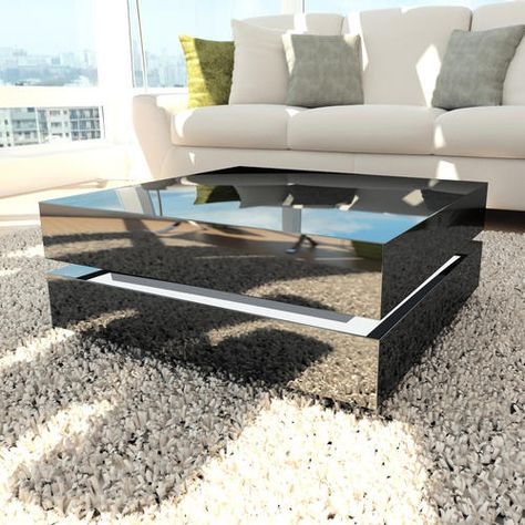Buy Tiffany Black High Gloss Cubic Led Coffee Table From