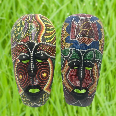 Mask Safari Wood Tribal African Art Hand Craft Turtle Decor Wall Hanging Craved