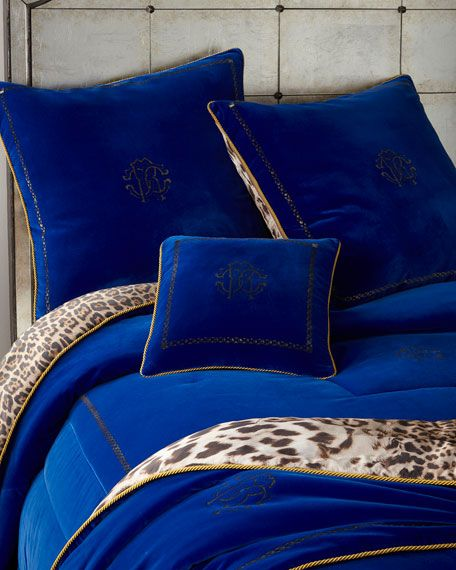 Roberto Cavalli Venezia Cushion 16 Sq And Matching Items Matching Items Royal Blue Bedrooms Blue And Gold Bedroom Blue Comforter Sets