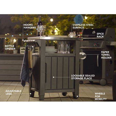 Patio Garden In 2020 Patio Storage Metal Grill Outdoor Serving Cart