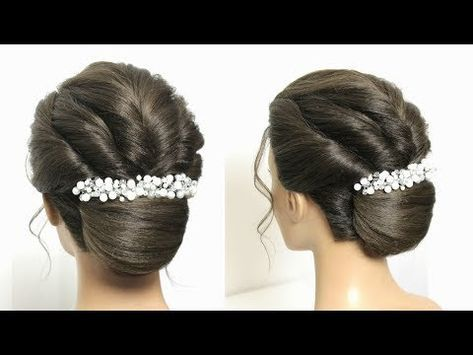 French Roll Bun Hairstyle With Twists Updo For Long Medium Hair Youtube Medium Hair Styles Hair Tutorials For Medium Hair Bun Hairstyles For Long Hair